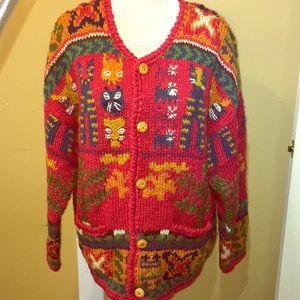 90's Vintage Express Handknitted Wool Cat Sweater